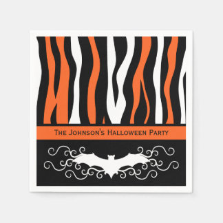 Halloween zebra pattern and bat personalized party disposable napkins