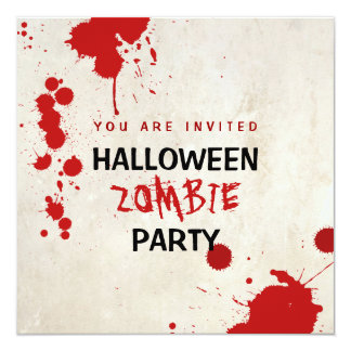 """Halloween Zombie Bloodstained Vampire Party 5.25"""" Square Invitation Card"""