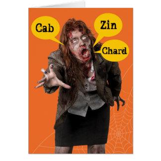 Halloween Zombie Happy Hallowine  Wino Card