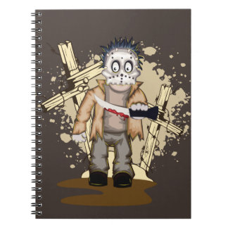 Halloween zombie with blood knife in cemetery spiral note books
