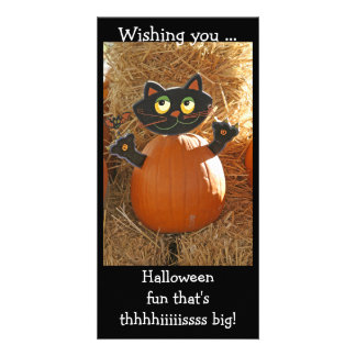 HalloweenCatAndPunkin Customized Photo Card