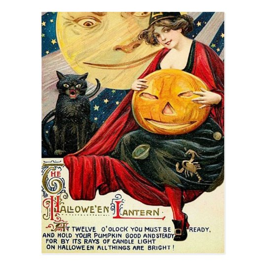 Hallowen witch pumpkin black cat Vintage postcard