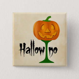 Hallowino Pumpkin Wine Glass Halloween 2 Inch Square Button