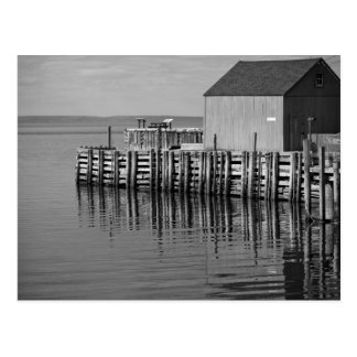 Hall's Harbour Wharf (B&W) Postcard