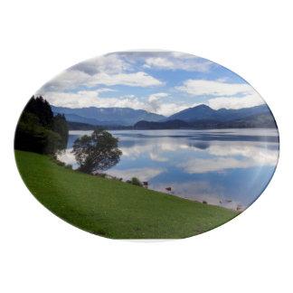 Hallstattersee lake, Alps, Austria Porcelain Serving Platter