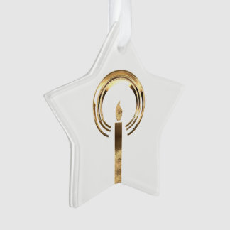 Halo around Candle Flame Gold Elegant Christmas Ornament