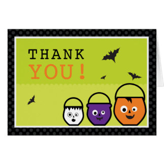 "Haloween ""Candy Pails""  Thank You Card"