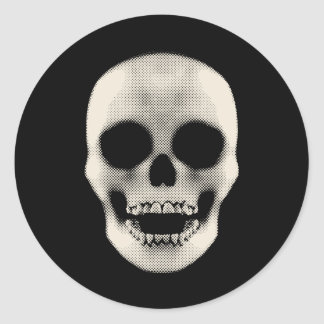 Haltone Skull: Vector Artwork: Classic Round Sticker