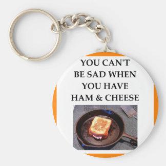 ham and cheese basic round button keychain