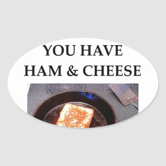 ham and cheese oval sticker