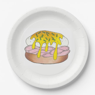Ham Eggs Benedict Breakfast Brunch Food Foodie Paper Plate