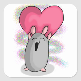 Ham heart square sticker