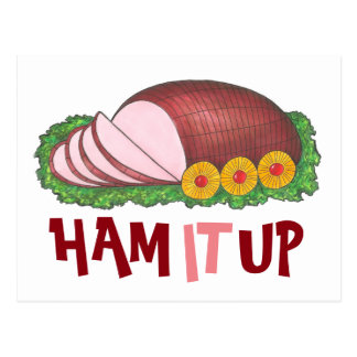 HAM IT UP Funny Christmas Holiday Foodie Postcard