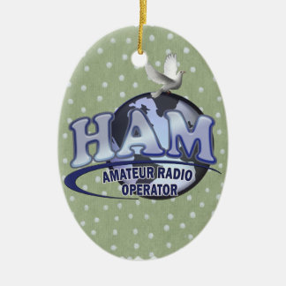 HAM LOGO BLUE AMATEUR RADIO OPERATOR CERAMIC ORNAMENT