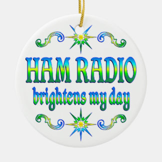 Ham Radio Brightens Ceramic Ornament