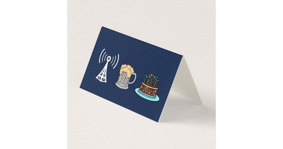 Ham Radio Repeater Beer Cake Birthday Card Ham Radio Repeater