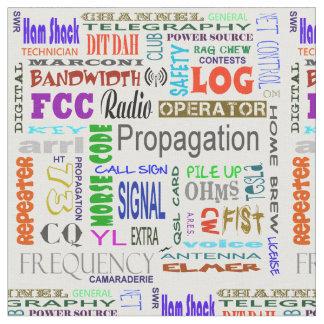Ham Radio Word Collage Fabric