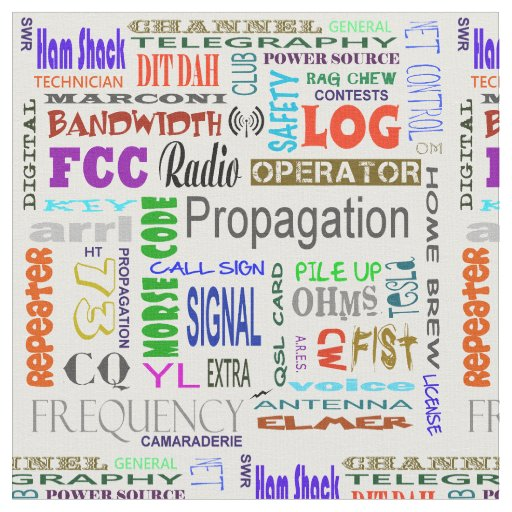 Ham Radio Word Collage Fabric