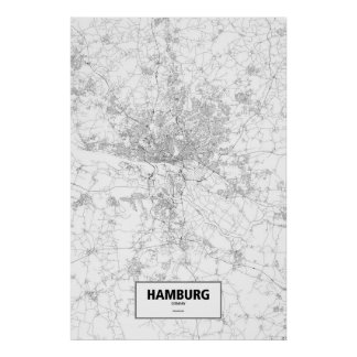 Hamburg, Germany (black on white) Poster