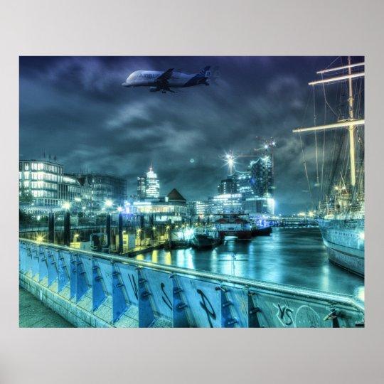 Hamburg jetties at night poster