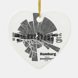 Hamburg Map Ceramic Ornament