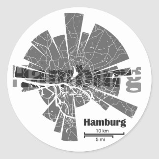 Hamburg Map Classic Round Sticker