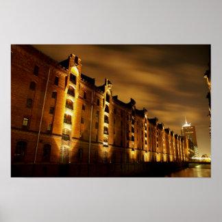Hamburg - memory city at night - pressure poster