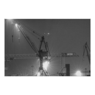 Hamburg quay cranes at night poster