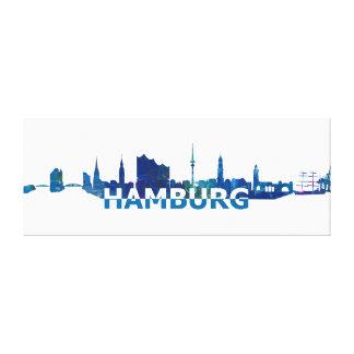 Hamburg Skyline Silhouette Canvas Print