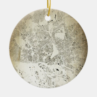 Hamburg Streets and Buildings Map Antic Vintage Ceramic Ornament
