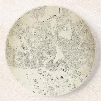 Hamburg Streets and Buildings Map Antic Vintage Coaster