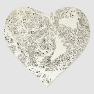 Hamburg Streets and Buildings Map Antic Vintage Heart Sticker