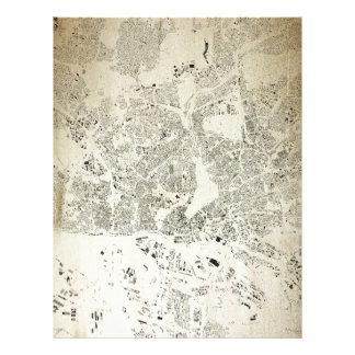 Hamburg Streets and Buildings Map Antic Vintage Letterhead