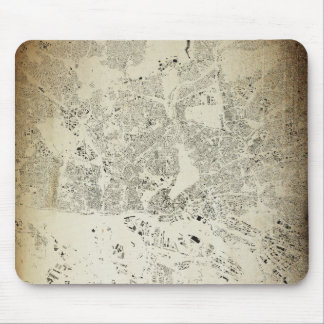 Hamburg Streets and Buildings Map Antic Vintage Mouse Pad