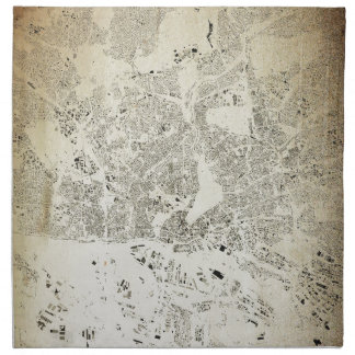 Hamburg Streets and Buildings Map Antic Vintage Napkin
