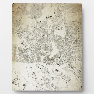 Hamburg Streets and Buildings Map Antic Vintage Plaque