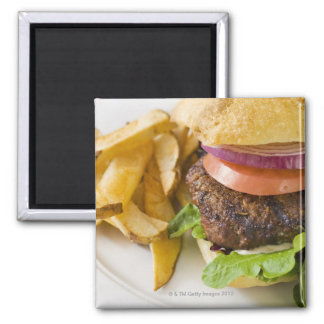 Hamburger and French Fries Square Magnet