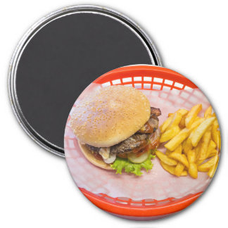 Hamburger and Fries Basket Refrigerator Magnet