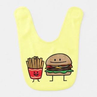 Hamburger and Fries Bibs