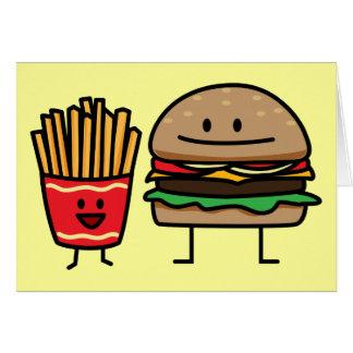 Hamburger and Fries fast food bun junk fried hot Card