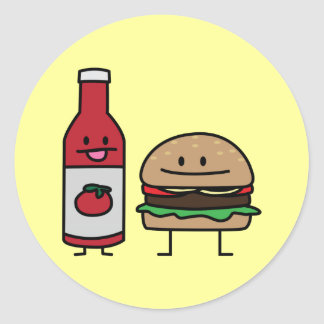 Hamburger and Ketchup fast food buddies bun patty Classic Round Sticker