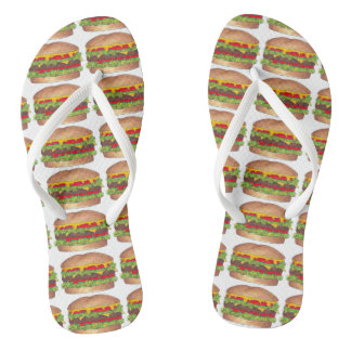 Hamburger Cheeseburger Fast Food Burger Foodie Flip Flops