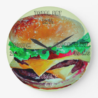 Hamburger Clock, Pop Art of Artlarissa Large Clock