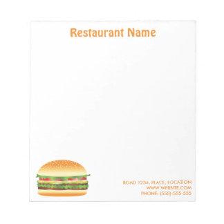 Hamburger Custom Restaurant Notepad