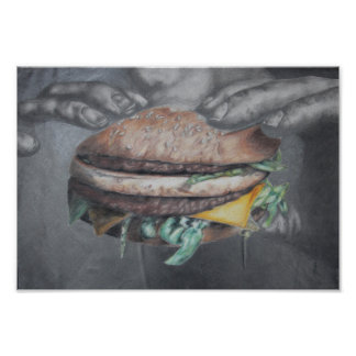 HAMBURGER EATING KITCHEN POSTER PRINT