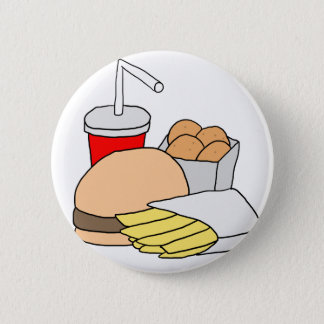 Hamburger, Fries, Chicken Nuggets and Soda 2 Inch Round Button