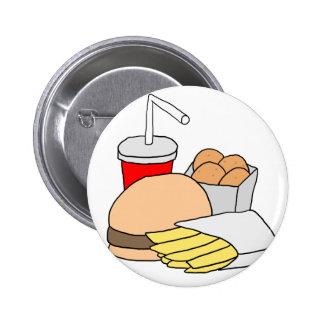 Hamburger, Fries, Chicken Nuggets and Soda 2 Inch Round Button