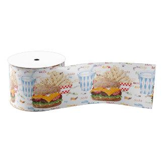 Hamburger Fries Fast Food BBQ Diner Grosgrain Ribbon