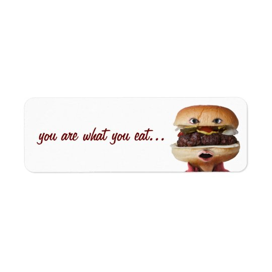 Hamburger Head Man over white Return Address Label