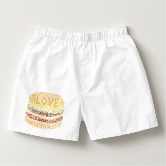 Hamburger illustrated with Love Word Boxers